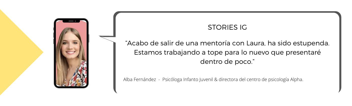 Testimonio de Alba sobre la Mentoría con Laura Mestres, Consultoría de marketing digital y social media.