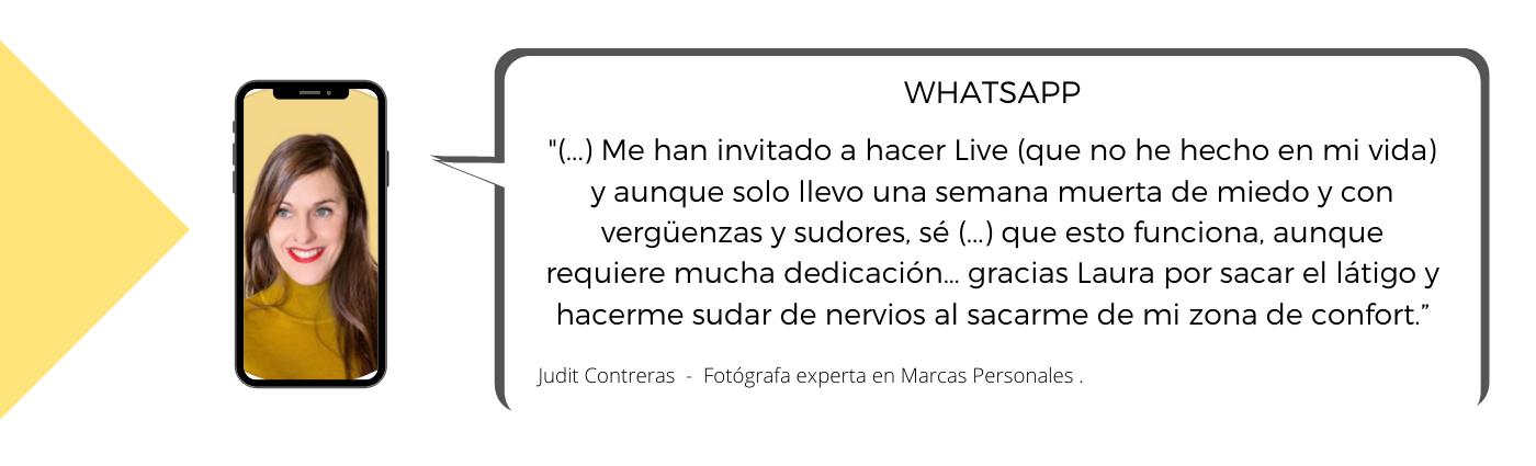 Testimonio de Judit sobre la Mentoría con Laura Mestres, Consultoría de marketing digital y social media.