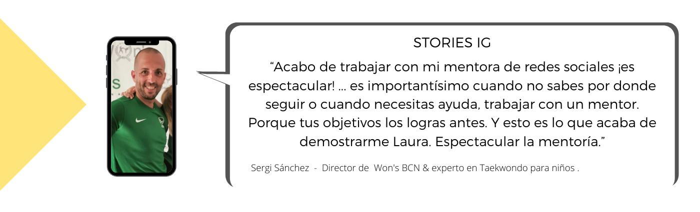 Testimonio de Sergi sobre la Mentoría con Laura Mestres, Consultoría de marketing digital y social media.